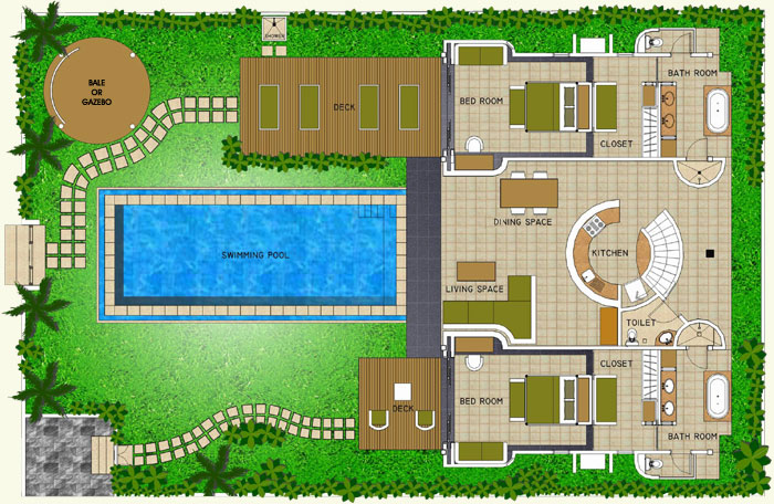 Space at bali villa layout for Swimming pool site plan